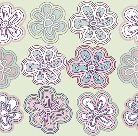 Light vector background with gentle hand drawn flowers Vector