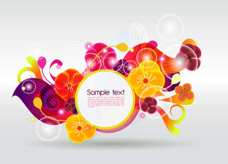 Orange bright vector background with flowers Vector