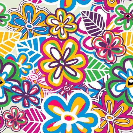 Abstract bright vector revival texture with psychedelic color flowers Vector