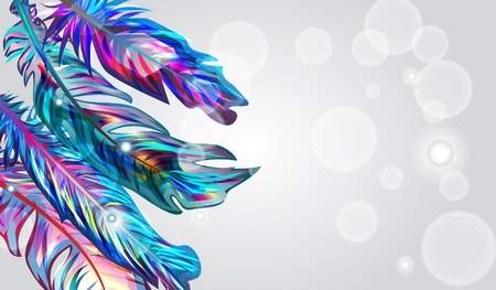 opalesce: Light background with blue feathers