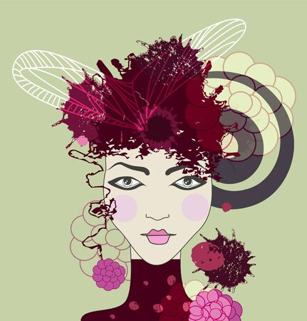 make up woman: female face with abstract pattern Illustration
