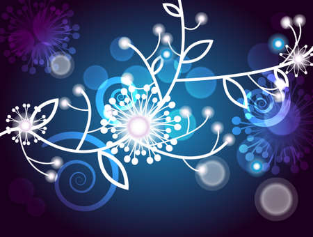 abstract lighting background with white flowers Vector