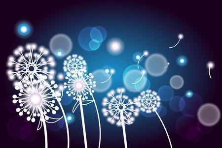 Ilustración con la rama blanco con flores sobre un fondo azul oscuro