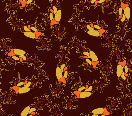 Brown print with yellow poppy Vector
