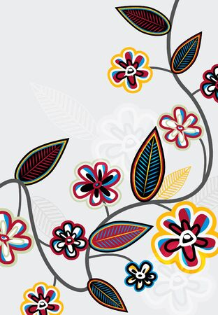 liana: Bright branch with leafs and flowers Illustration