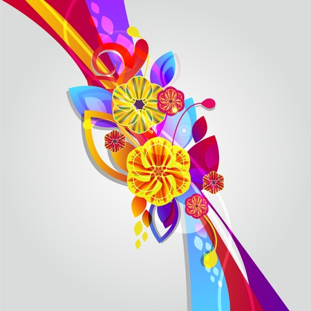fantail: Bright composition with flowers