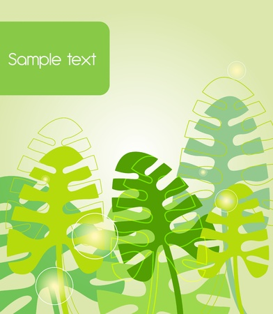 Green background with abstract leafs Vector