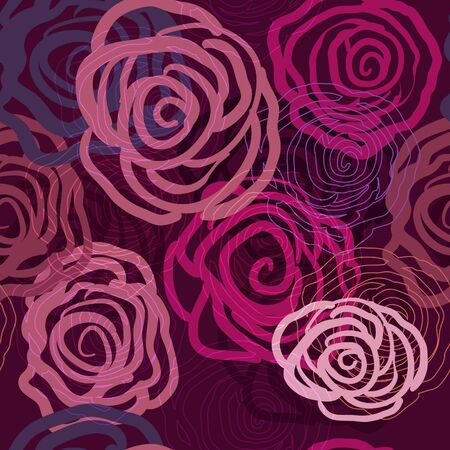 Lilac seamless texture with abstract roses Stock Vector - 9393845
