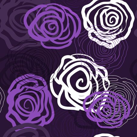 Abstract violet background with roses Stock Vector - 9393895