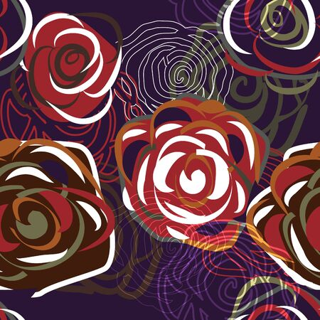 Abstract trendy dark background with roses Vector