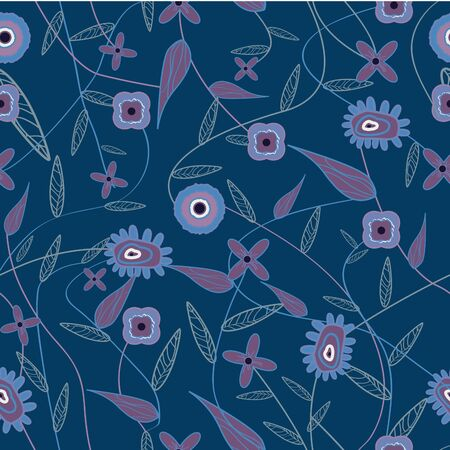 Dark blue seamless texture with flowers Vector