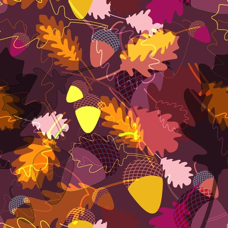 flores vintage: Abstrct evctor seamless texture with oak leafs and acorns