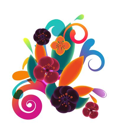 Composition with velvet vector flowers Vector