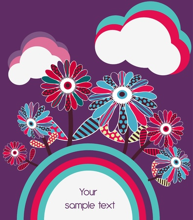 Abstract vector lilac banner with flowers Vector