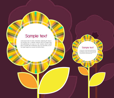 Abstract vector background with yellow sunflowers Vector