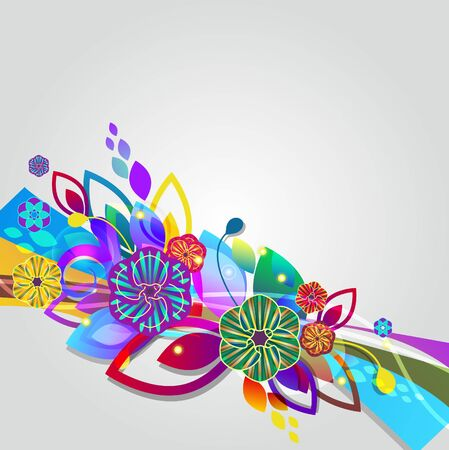 fantail: Abstract vector background with light multicolor flowers Illustration