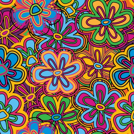 Bright vector seamless texture with vivid flowers Vector