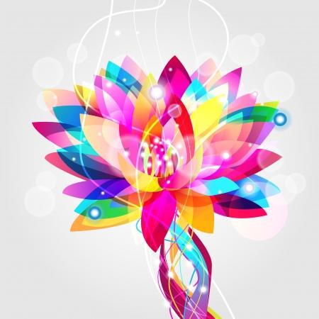 indian yoga: Illustrazione vettoriale luminoso con lotus multicolor Vettoriali
