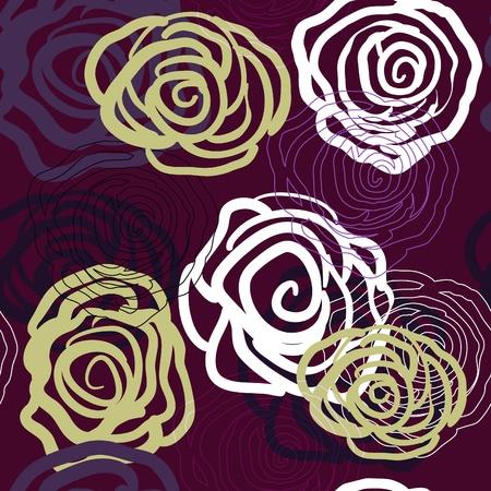 Violet naadloze vector textuur met rozen Vector Illustratie
