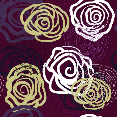 Violet seamless vector texture with roses Illustration