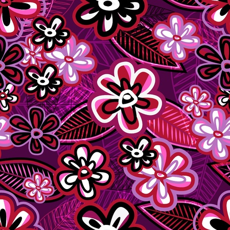 Hand drawn vector violet background with flowers Vector