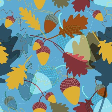 Seamless vector texture with leafs and acorns Stock Vector - 9492474