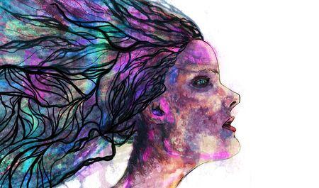Women watercolor face photo