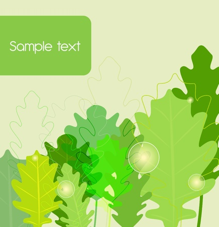 Green seamless background with oak leafs Vector