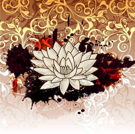 indian yoga: Illustrazione astratto con spruzzata di loto e grunge Vettoriali
