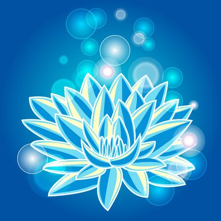 ancient yoga: Abstract illustration with blue lotus