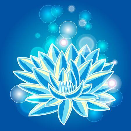 indian yoga: Illustrazione astratto con loto blu Vettoriali