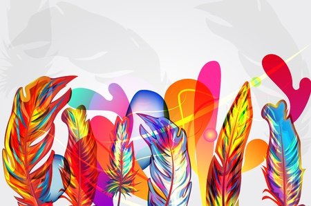 opalesce: Bright background with feathers and abstract shapes