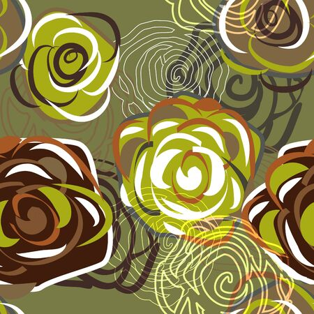 Green seamless texture with abstract roses Vector