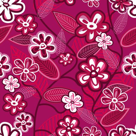 Abstract violet background with beautiful hand drawn flowers Vector