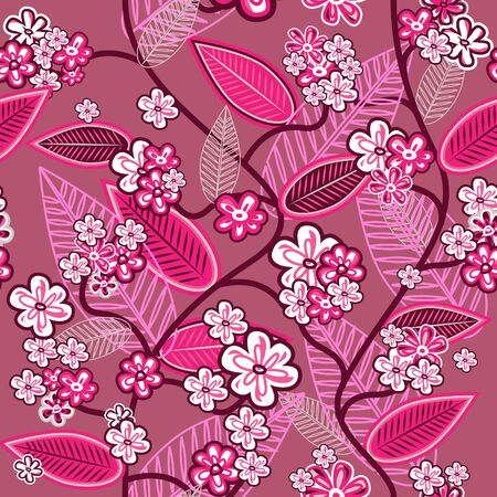 Pink seamless wallpaper with hand drawn flowers Vector