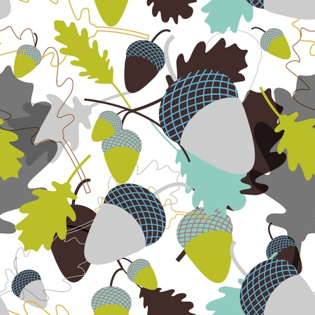 seamless background with oak leafs and acorn Vector