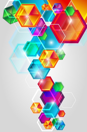 Bright red background with  lighting hexagons Vector