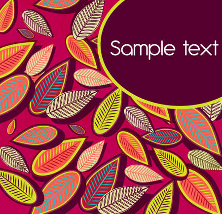 Abstract purple background with multicolor leafs Vector