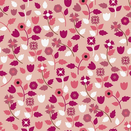 small flowers: Pink wallpaper with herbal