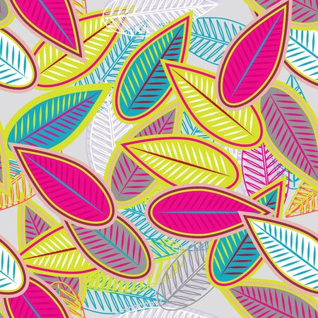 floral print: Abstract light background with multicolor leaves Illustration