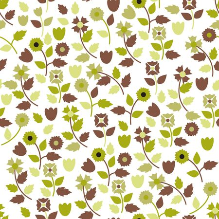 Abstract seamless texture with grenn and brown flowers Vector