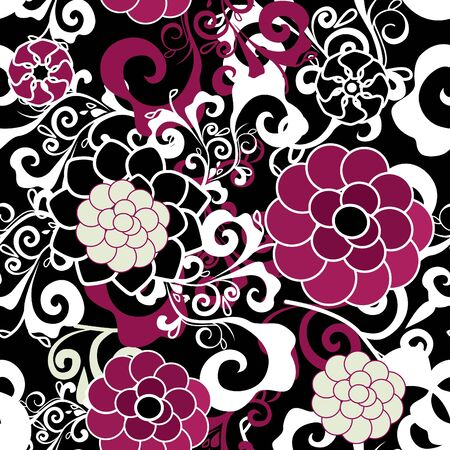 on the texture: Dark seamless texture with pink and violet flowers and white pattern Illustration