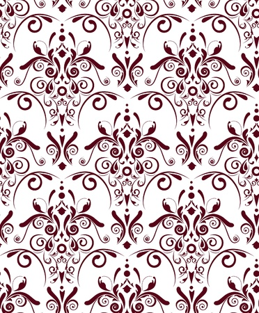 Abstract seamless texture with dark red damask pattern Stock Vector - 9585368
