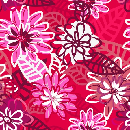 Abstract seamless texture with bright flowers Stock Vector - 9585361