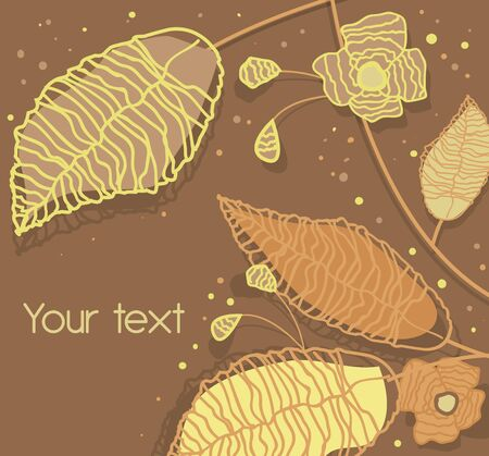 abstract brown background with drawing plants and leafs Vector