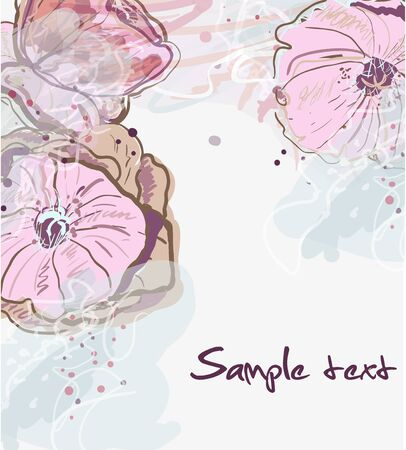 Abstract watercolor vector background with drawing flowers Stock Vector - 9642248