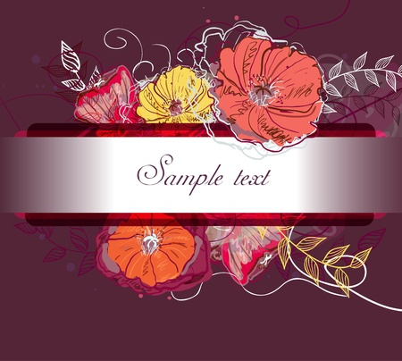 bordeaux: Abstract watercolor vector background with drawing flowers