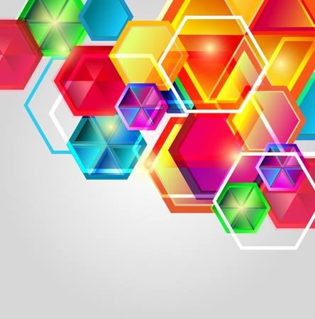 Bright vector composition with hexagons Vector
