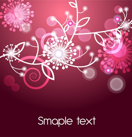 Abstract vector red background with white abstract flowers