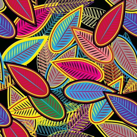 Abstract seamless vector background with multicolor leafs Vector
